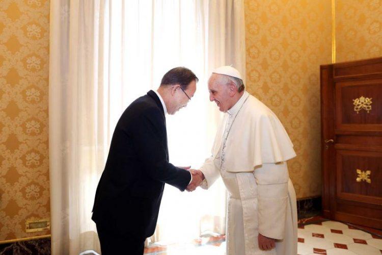 Đức Phanxicô tiếp kiến Tổng thư ký Liên Hiệp Quốc vào năm 2013