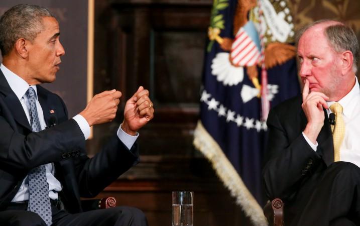 Tổng thống Obama và giáo sư Putnam tại Hội nghị Lãnh đạo Công giáo - phái Phúc âm nhăm chống Nghèo đói tại Đại học Geogretown