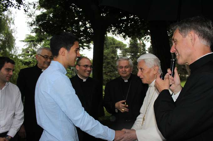 Pope emeritus Benedict XVI meets with seminarians from the diocese of Faensa-Modigliana, Italy on June 16, 2015 at the seminary of Faensa-Modigliana