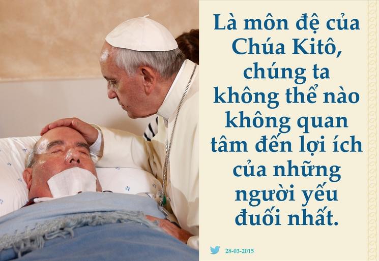 Tweet của Giáo hoàng Phanxicô 28-03-2015