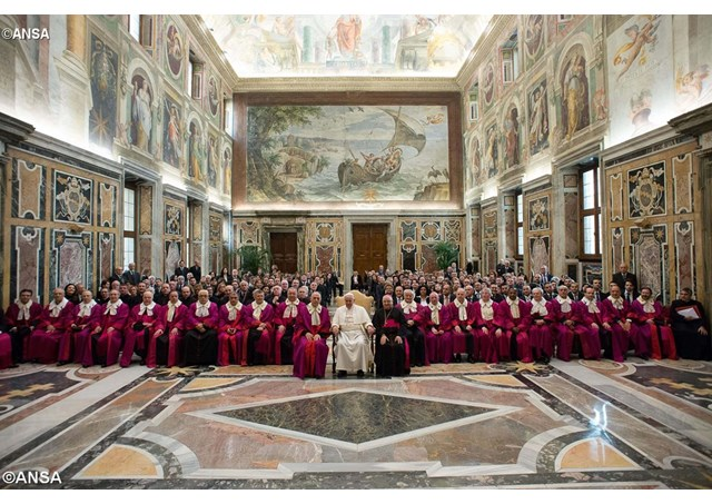 Pope Francis with the judges of the Roman Rota, Jan 23, 2015 - ANSA