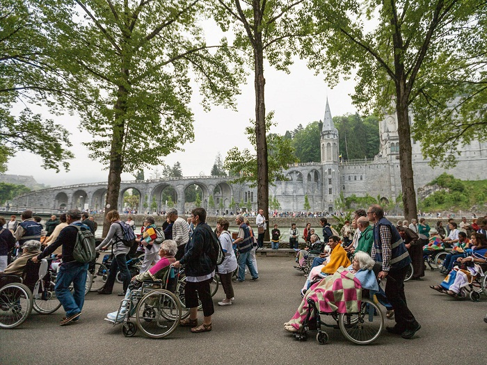 Picture of volunteers pushing the wheelchairs of pilgrims in Lourdes