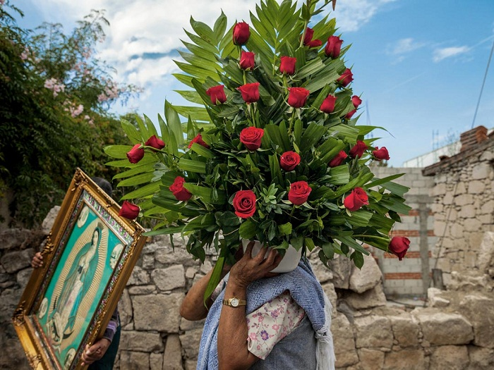 Pictures of pilgrims on their way to visit the shrine of Our Lady of Guadalupe in Mexico City