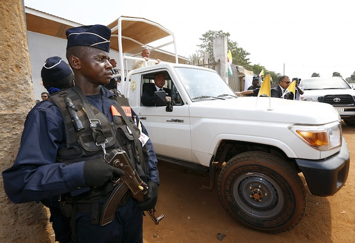 Pope Francis leaves the refugee camp of Saint Sauveur in the capital Bangui